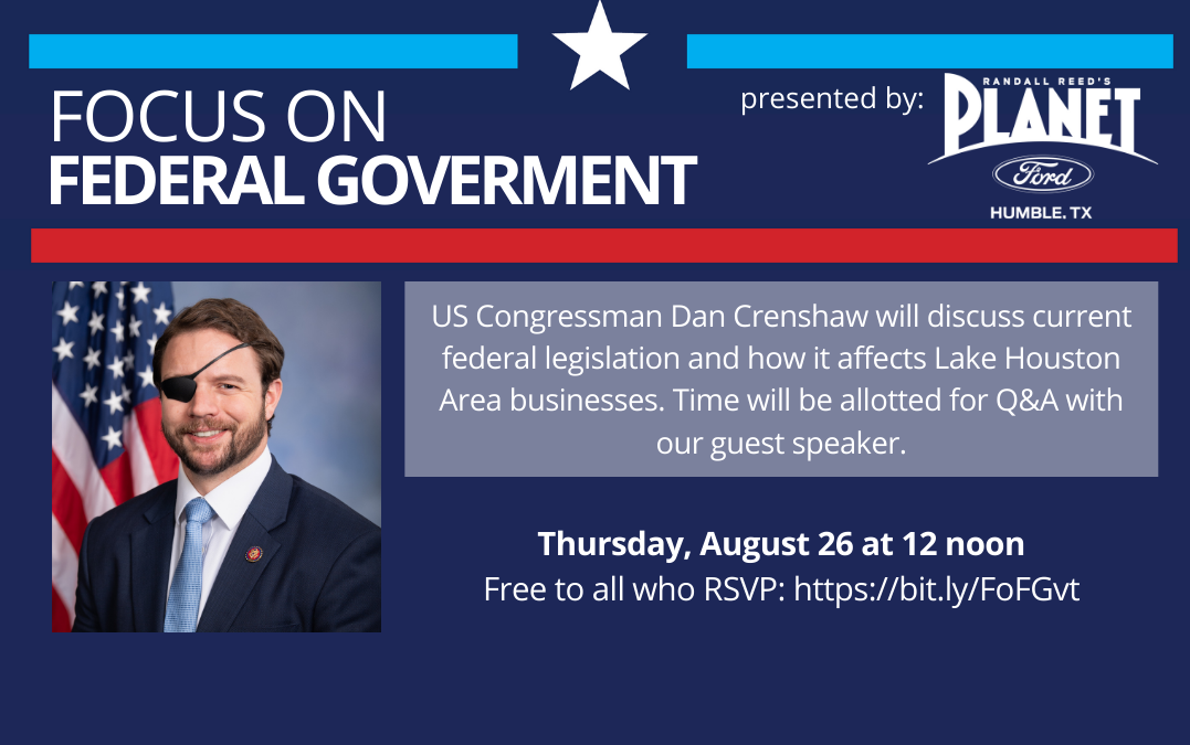 Dan Crenshaw leads discussion at Partnership Lake Houston's Focus on Federal Luncheon presented by Randall Reed's Planet Ford of Humble